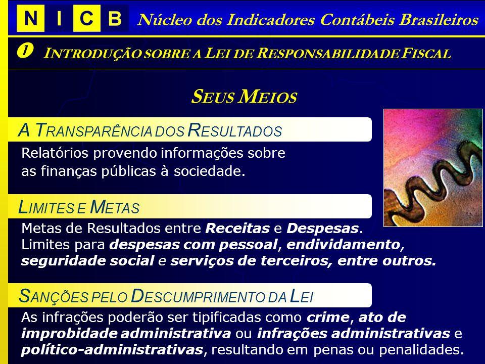 Núcleo dos Indicadores Contábeis Brasileiros I NTRODUÇÃO SOBRE A L EI DE R ESPONSABILIDADE F ISCAL S EUS M EIOS Metas de Resultados entre Receitas e Despesas.