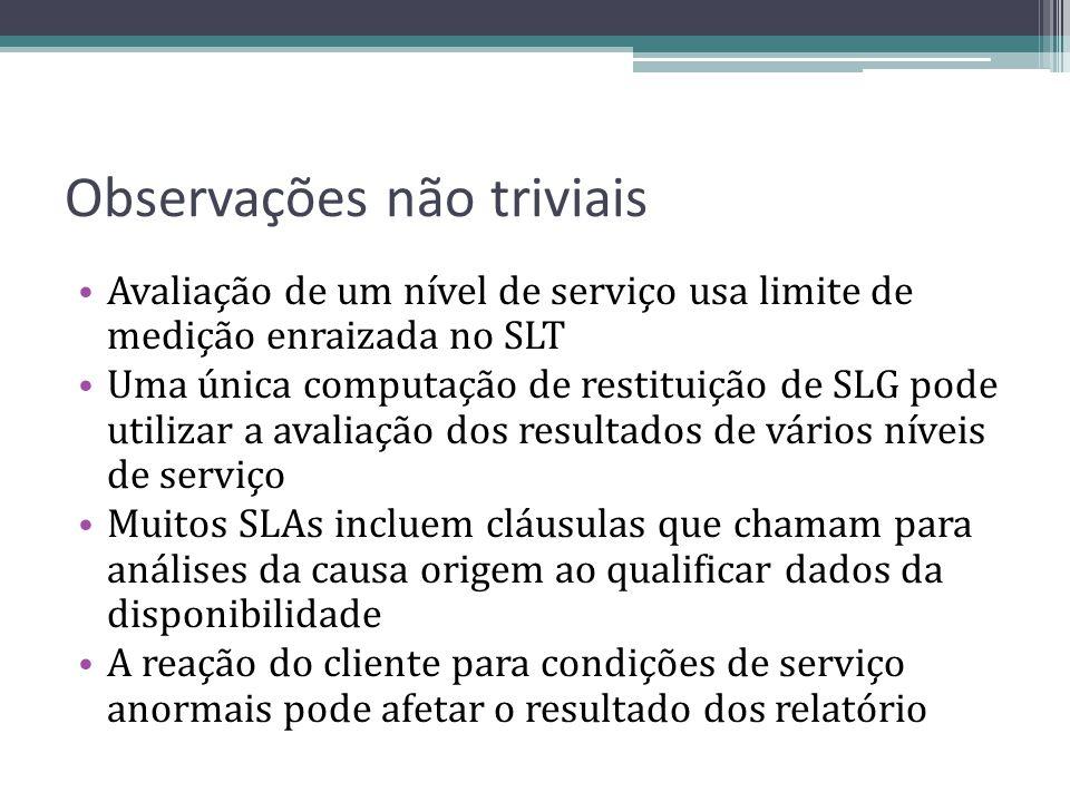 Observações não triviais Avaliação de um nível de serviço usa limite de medição enraizada no SLT Uma única computação de restituição de SLG pode utili