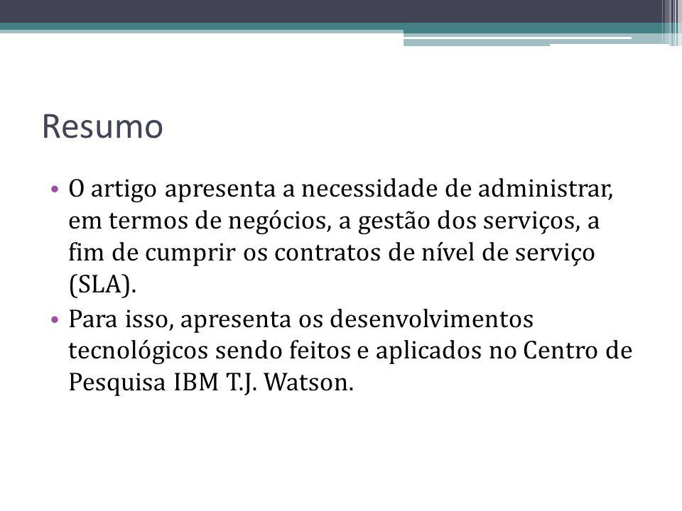Resumo O artigo apresenta a necessidade de administrar, em termos de negócios, a gestão dos serviços, a fim de cumprir os contratos de nível de serviç
