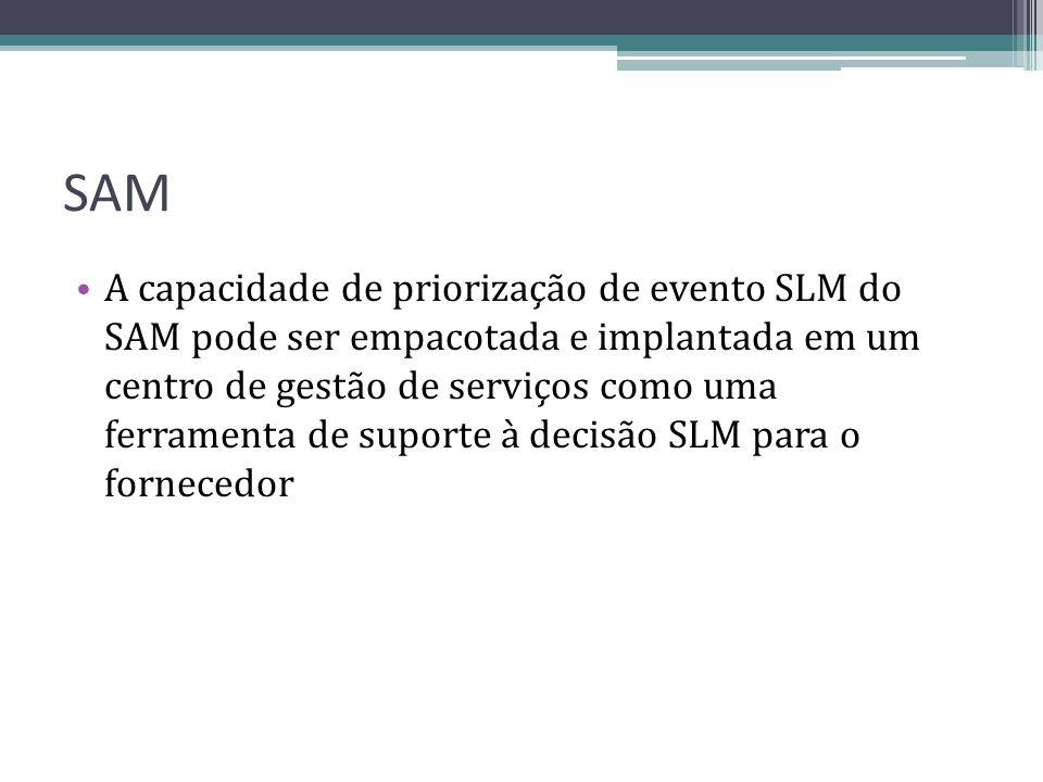 SAM A capacidade de priorização de evento SLM do SAM pode ser empacotada e implantada em um centro de gestão de serviços como uma ferramenta de suport