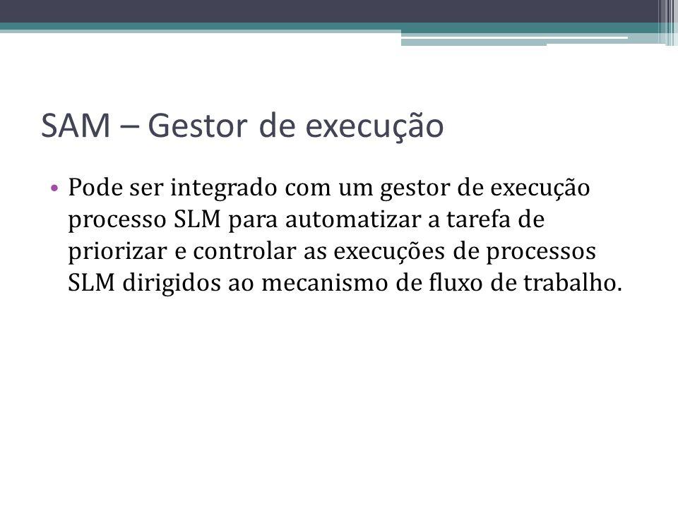 SAM – Gestor de execução Pode ser integrado com um gestor de execução processo SLM para automatizar a tarefa de priorizar e controlar as execuções de