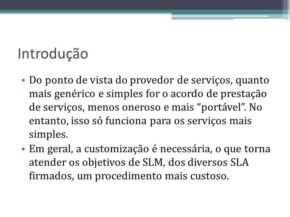 Introdução Do ponto de vista do provedor de serviços, quanto mais genérico e simples for o acordo de prestação de serviços, menos oneroso e mais portá