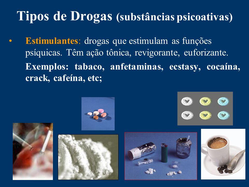 Tipos de Drogas (substâncias psicoativas) Estimulantes: drogas que estimulam as funções psíquicas.