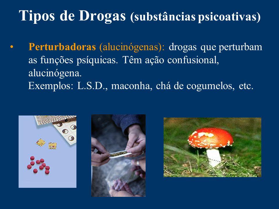 Tipos de Drogas (substâncias psicoativas) Perturbadoras (alucinógenas): drogas que perturbam as funções psíquicas.