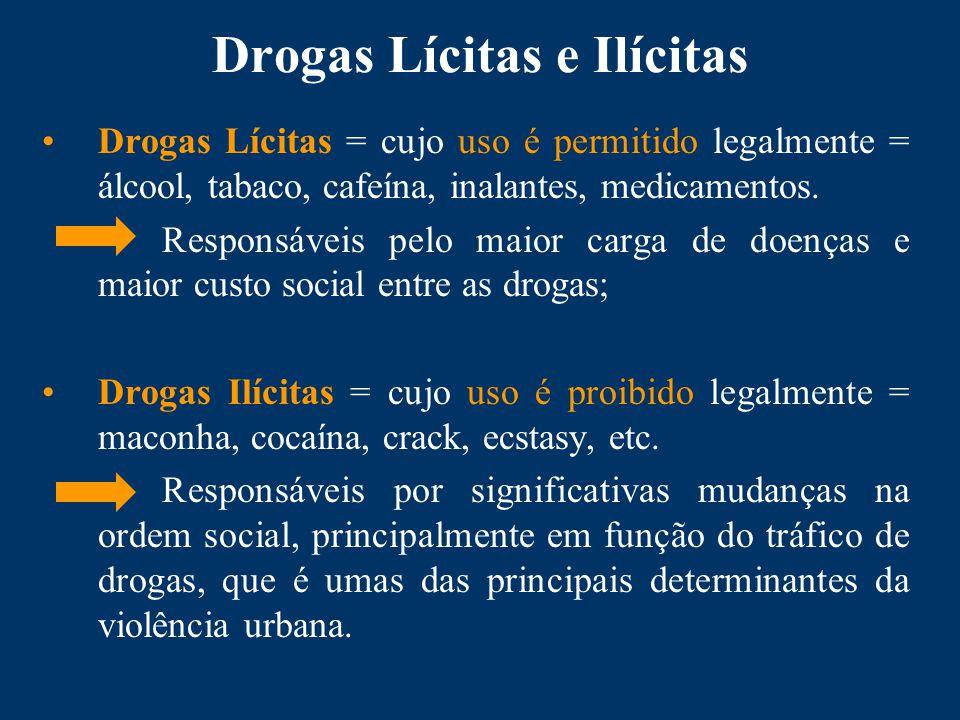 Drogas Lícitas e Ilícitas Drogas Lícitas = cujo uso é permitido legalmente = álcool, tabaco, cafeína, inalantes, medicamentos.