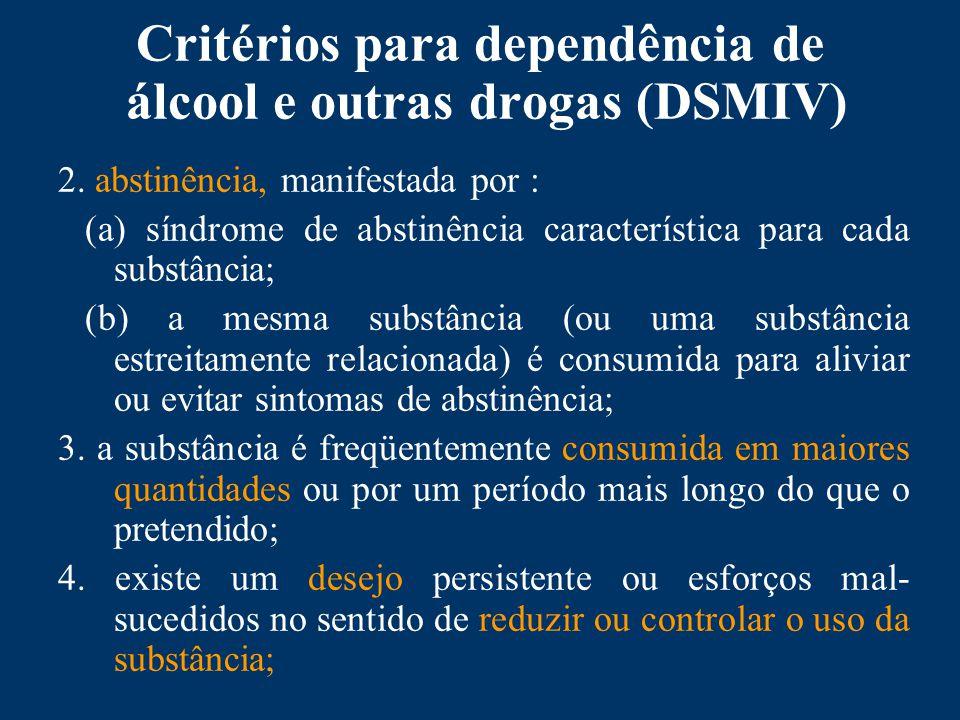 Critérios para dependência de álcool e outras drogas (DSMIV) 2.