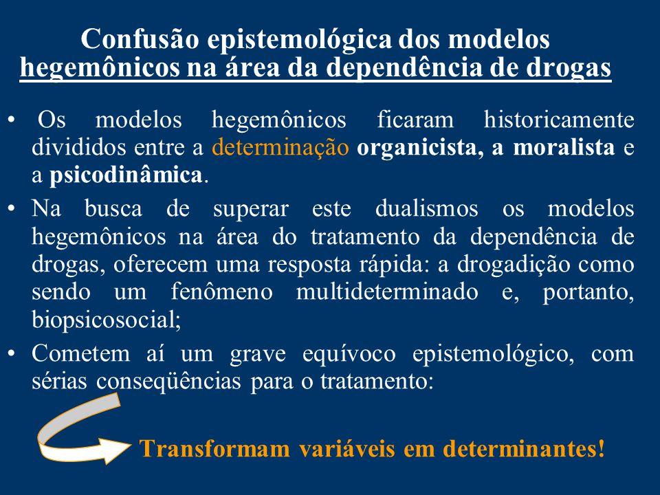 Confusão epistemológica dos modelos hegemônicos na área da dependência de drogas Os modelos hegemônicos ficaram historicamente divididos entre a determinação organicista, a moralista e a psicodinâmica.