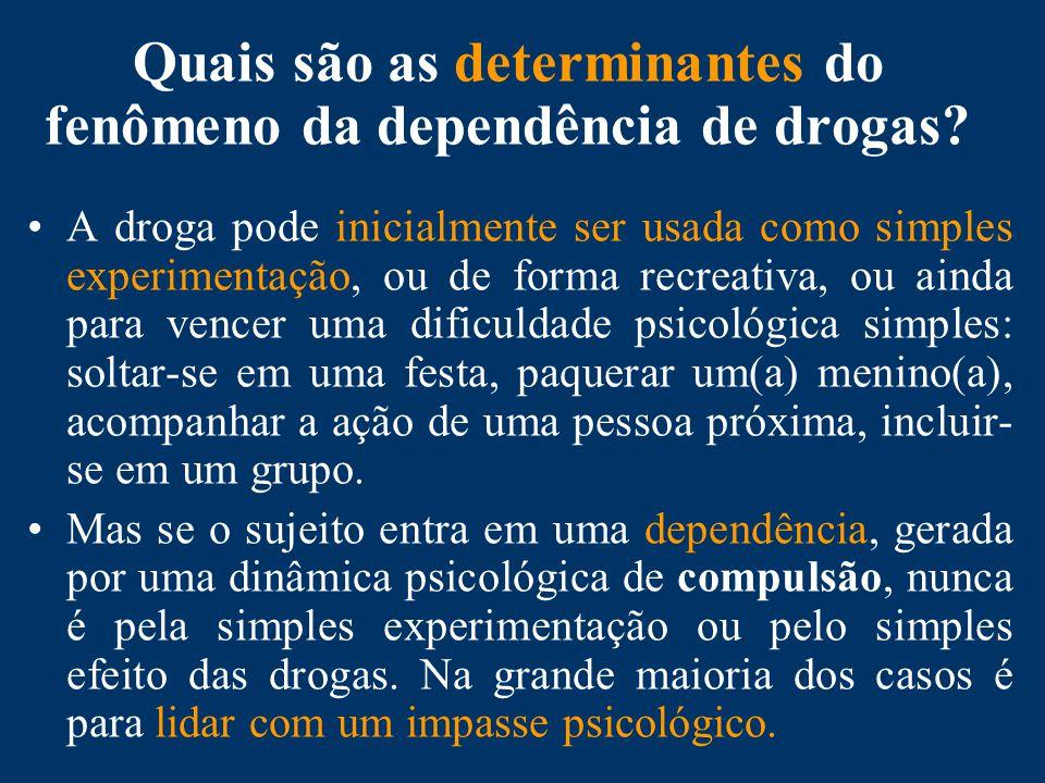 Quais são as determinantes do fenômeno da dependência de drogas.