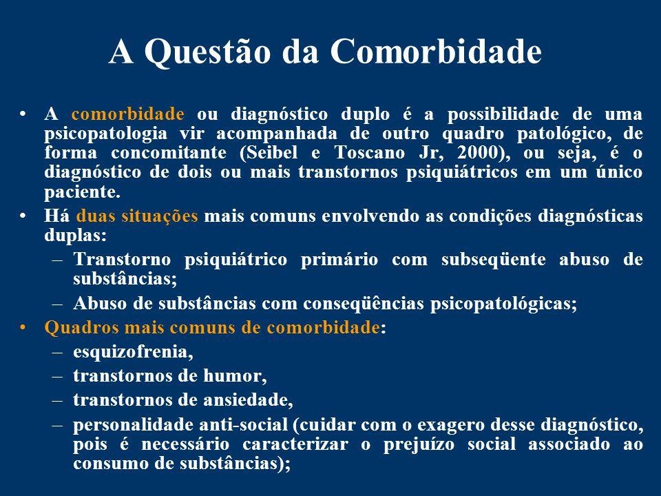 A Questão da Comorbidade A comorbidade ou diagnóstico duplo é a possibilidade de uma psicopatologia vir acompanhada de outro quadro patológico, de forma concomitante (Seibel e Toscano Jr, 2000), ou seja, é o diagnóstico de dois ou mais transtornos psiquiátricos em um único paciente.