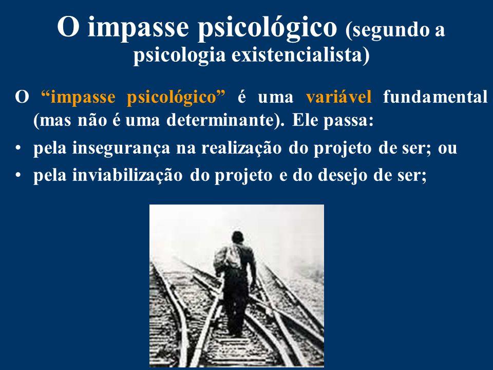 O impasse psicológico (segundo a psicologia existencialista) O impasse psicológico é uma variável fundamental (mas não é uma determinante).