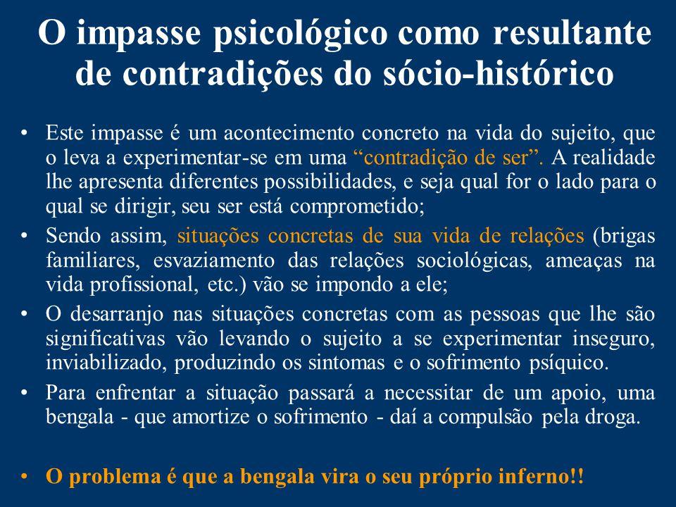 O impasse psicológico como resultante de contradições do sócio-histórico Este impasse é um acontecimento concreto na vida do sujeito, que o leva a experimentar-se em uma contradição de ser.