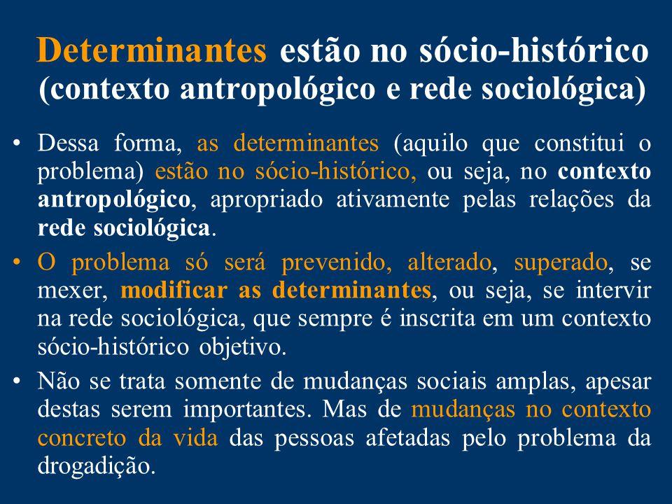 Determinantes estão no sócio-histórico (contexto antropológico e rede sociológica) Dessa forma, as determinantes (aquilo que constitui o problema) estão no sócio-histórico, ou seja, no contexto antropológico, apropriado ativamente pelas relações da rede sociológica.