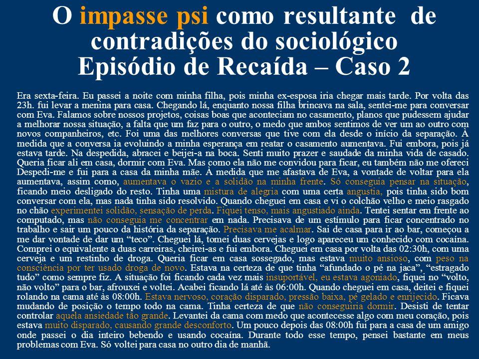 O impasse psi como resultante de contradições do sociológico Episódio de Recaída – Caso 2 Era sexta-feira.