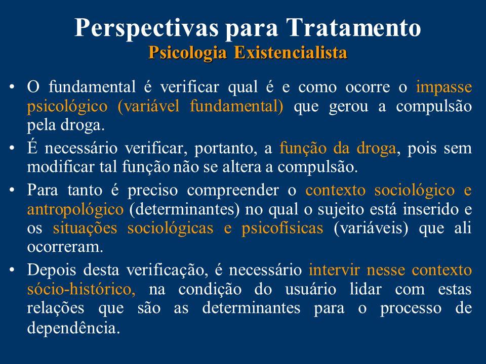 Psicologia Existencialista Perspectivas para Tratamento Psicologia Existencialista O fundamental é verificar qual é e como ocorre o impasse psicológico (variável fundamental) que gerou a compulsão pela droga.