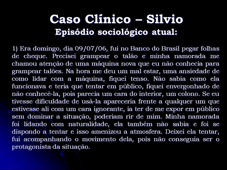 Caso Clínico – Silvio Episódio sociológico atual: 1) Era domingo, dia 09/07/06, fui no Banco do Brasil pegar folhas de cheque. Precisei grampear o tal