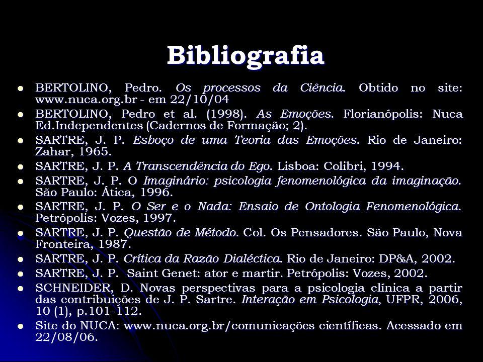 Bibliografia BERTOLINO, Pedro. Os processos da Ciência. Obtido no site: www.nuca.org.br - em 22/10/04 BERTOLINO, Pedro. Os processos da Ciência. Obtid