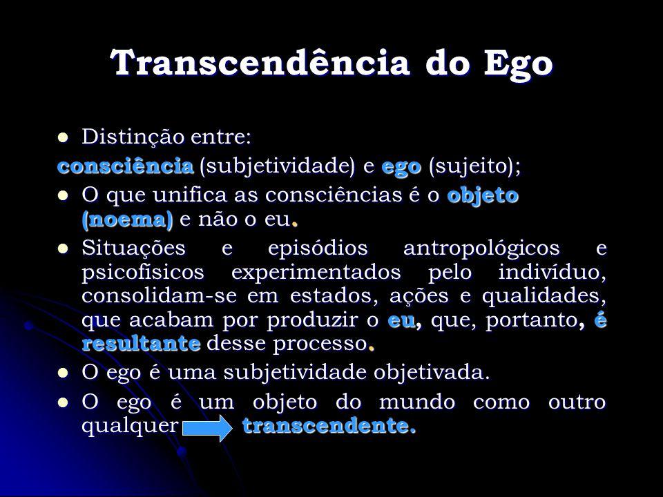 Transcendência do Ego Distinção entre: Distinção entre: consciência (subjetividade) e ego (sujeito); O que unifica as consciências é o objeto (noema)