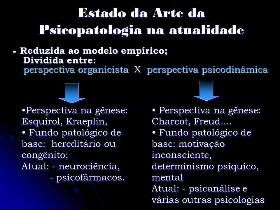 Estado da Arte da Psicopatologia na atualidade - Reduzida ao modelo empírico; Dividida entre: perspectiva organicista X perspectiva psicodinâmica Pers