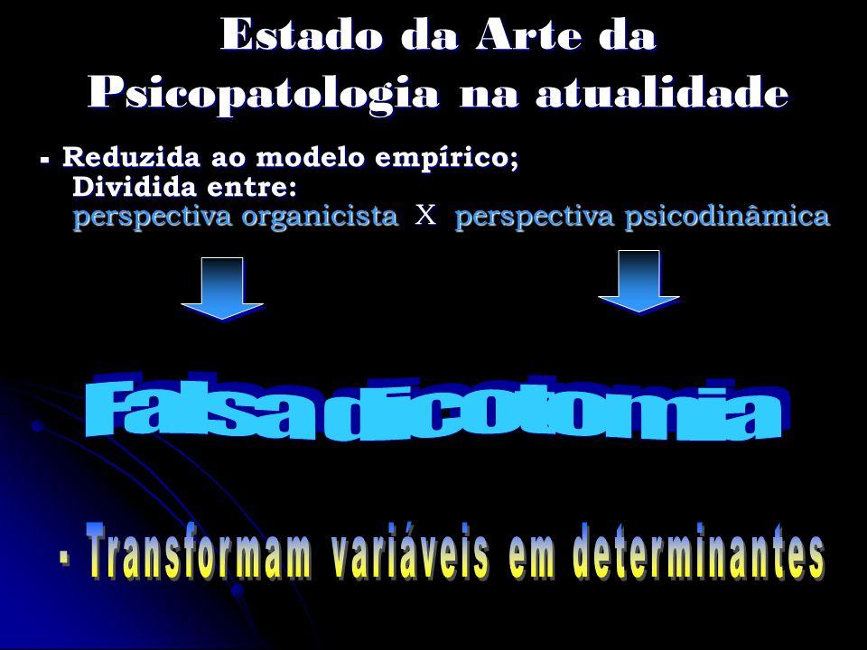Estado da Arte da Psicopatologia na atualidade - Reduzida ao modelo empírico; Dividida entre: perspectiva organicista X perspectiva psicodinâmica