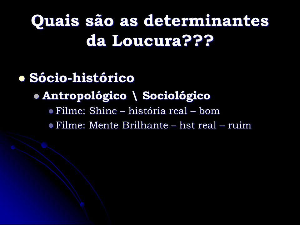 Quais são as determinantes da Loucura??? Sócio-histórico Sócio-histórico Antropológico \ Sociológico Antropológico \ Sociológico Filme: Shine – histór