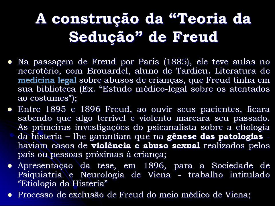A construção da Teoria da Sedução de Freud Na passagem de Freud por Paris (1885), ele teve aulas no necrotério, com Brouardel, aluno de Tardieu. Liter