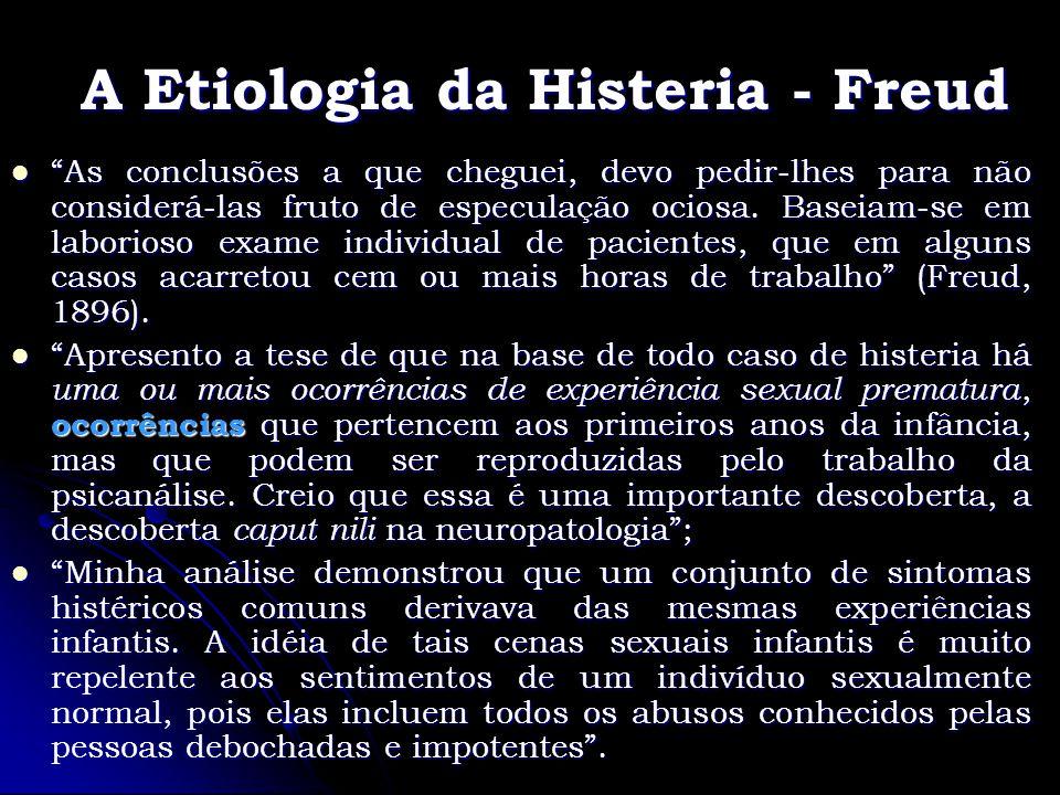 A Etiologia da Histeria - Freud As conclusões a que cheguei, devo pedir-lhes para não considerá-las fruto de especulação ociosa. Baseiam-se em laborio
