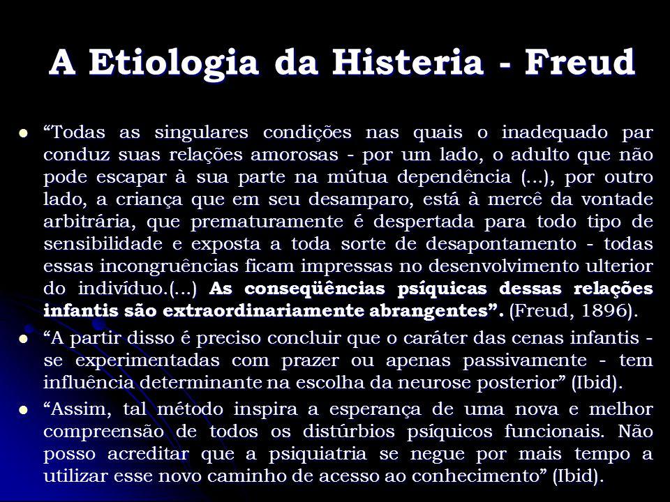 A Etiologia da Histeria - Freud Todas as singulares condições nas quais o inadequado par conduz suas relações amorosas - por um lado, o adulto que não