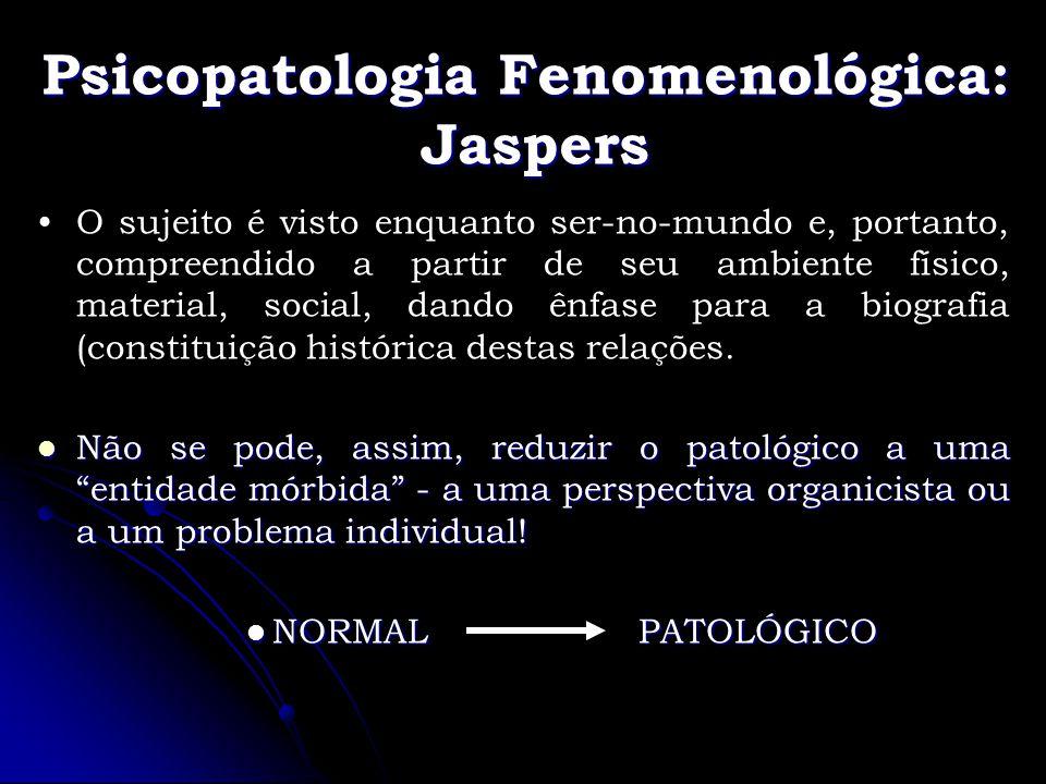 Psicopatologia Fenomenológica: Jaspers O sujeito é visto enquanto ser-no-mundo e, portanto, compreendido a partir de seu ambiente físico, material, so