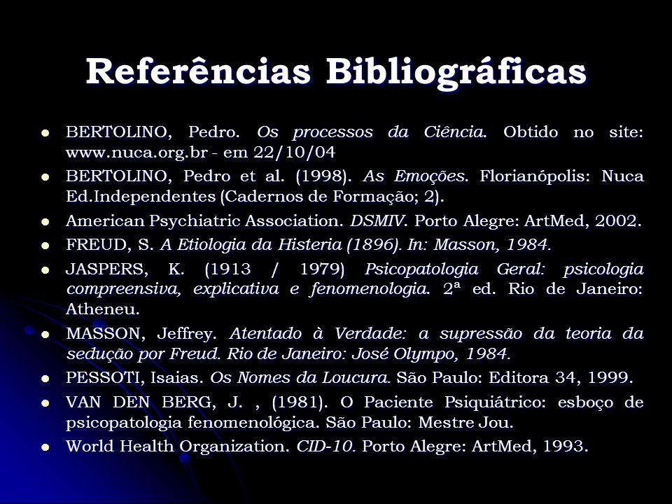 Referências Bibliográficas BERTOLINO, Pedro. Os processos da Ciência. Obtido no site: www.nuca.org.br - em 22/10/04 BERTOLINO, Pedro. Os processos da
