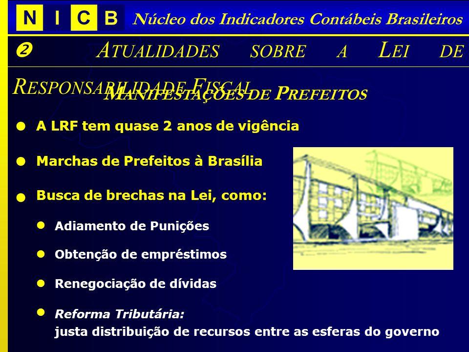 Núcleo dos Indicadores Contábeis Brasileiros A TUALIDADES SOBRE A L EI DE R ESPONSABILIDADE F ISCAL M ANIFESTAÇÕES DE P REFEITOS A LRF tem quase 2 ano