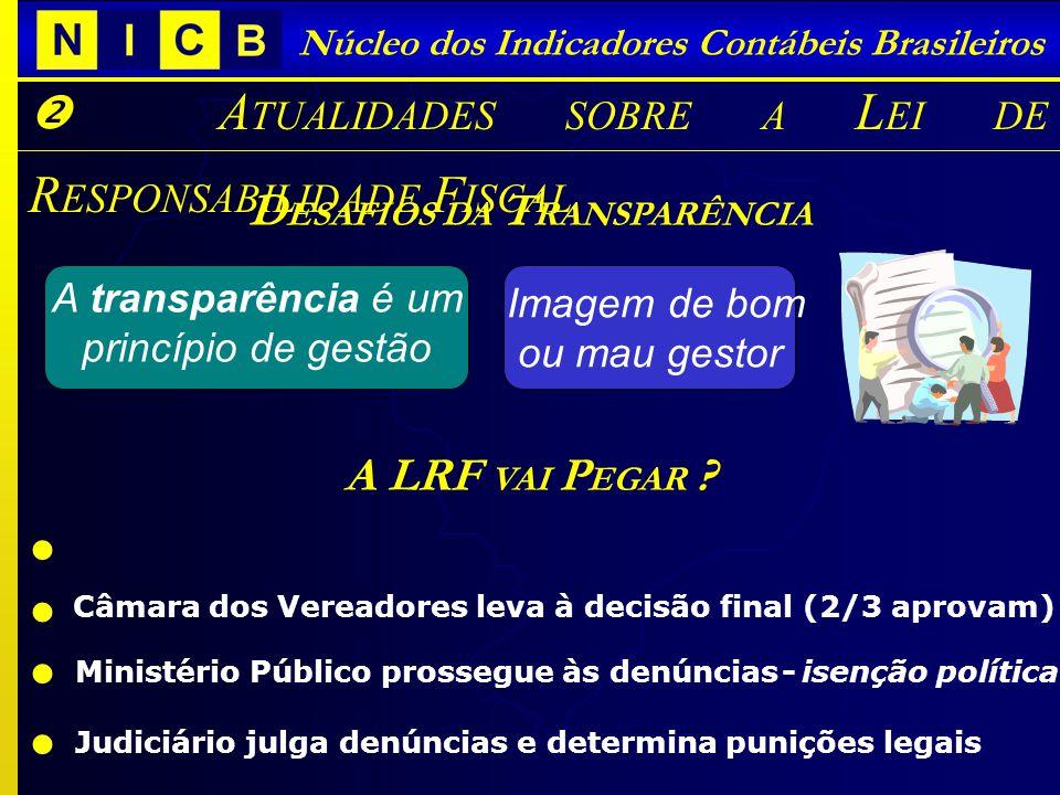 Núcleo dos Indicadores Contábeis Brasileiros A TUALIDADES SOBRE A L EI DE R ESPONSABILIDADE F ISCAL D ESAFIOS DA T RANSPARÊNCIA Imagem de bom ou mau g