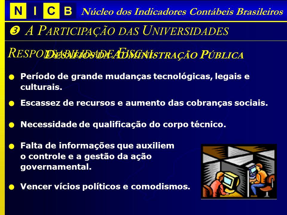 A TUALIDADES SOBRE A L EI DE R ESPONSABILIDADE F ISCAL Núcleo dos Indicadores Contábeis Brasileiros D ESAFIOS DA A DMINISTRAÇÃO P ÚBLICA A P ARTICIPAÇ
