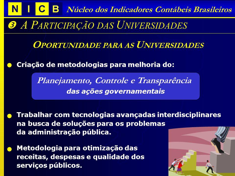 Núcleo dos Indicadores Contábeis Brasileiros O PORTUNIDADE PARA AS U NIVERSIDADES A P ARTICIPAÇÃO DAS U NIVERSIDADES Criação de metodologias para melhoria do: Planejamento, Controle e Transparência das ações governamentais Trabalhar com tecnologias avançadas interdisciplinares na busca de soluções para os problemas da administração pública.