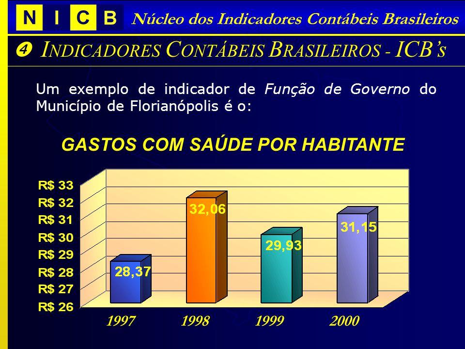 I NDICADORES C ONTÁBEIS B RASILEIROS - ICBs Núcleo dos Indicadores Contábeis Brasileiros Um exemplo de indicador de Função de Governo do Município de