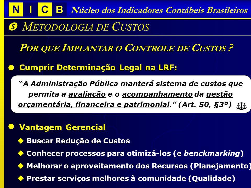 I NDICADORES C ONTÁBEIS B RASILEIROS - ICBs Núcleo dos Indicadores Contábeis Brasileiros M ETODOLOGIA DE C USTOS P OR QUE I MPLANTAR O C ONTROLE DE C USTOS .