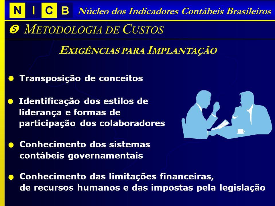 Núcleo dos Indicadores Contábeis Brasileiros M ETODOLOGIA DE C USTOS E XIGÊNCIAS PARA I MPLANTAÇÃO Transposição de conceitos Conhecimento dos sistemas
