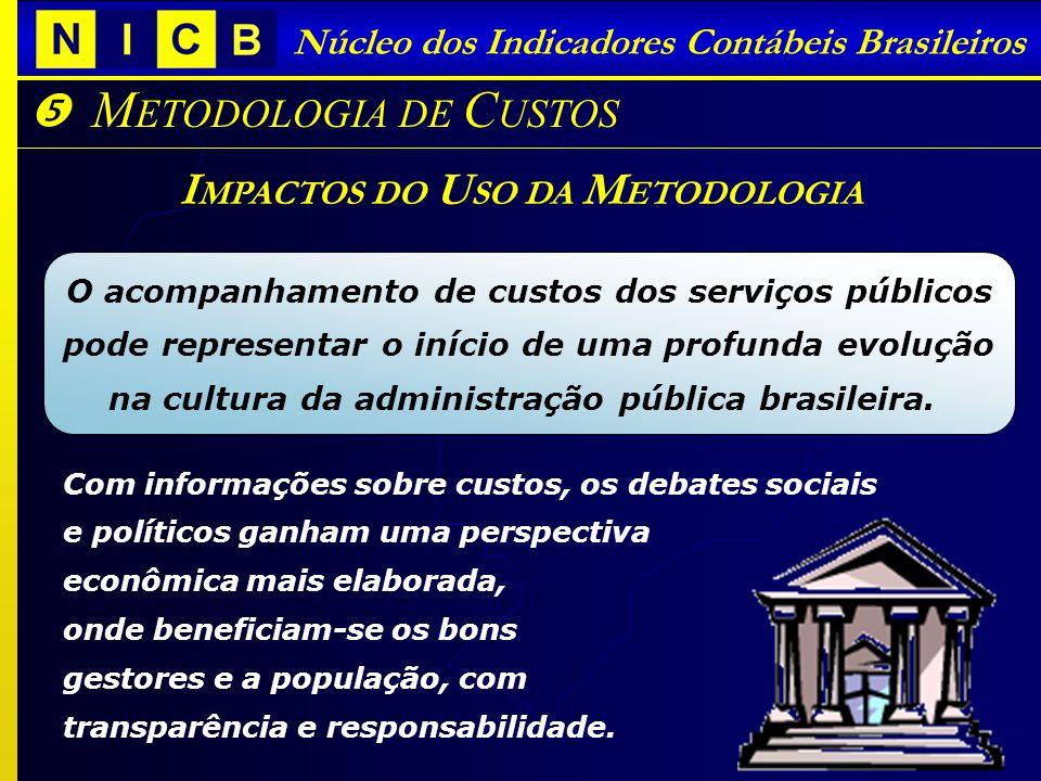 Núcleo dos Indicadores Contábeis Brasileiros M ETODOLOGIA DE C USTOS I MPACTOS DO U SO DA M ETODOLOGIA Com informações sobre custos, os debates sociai