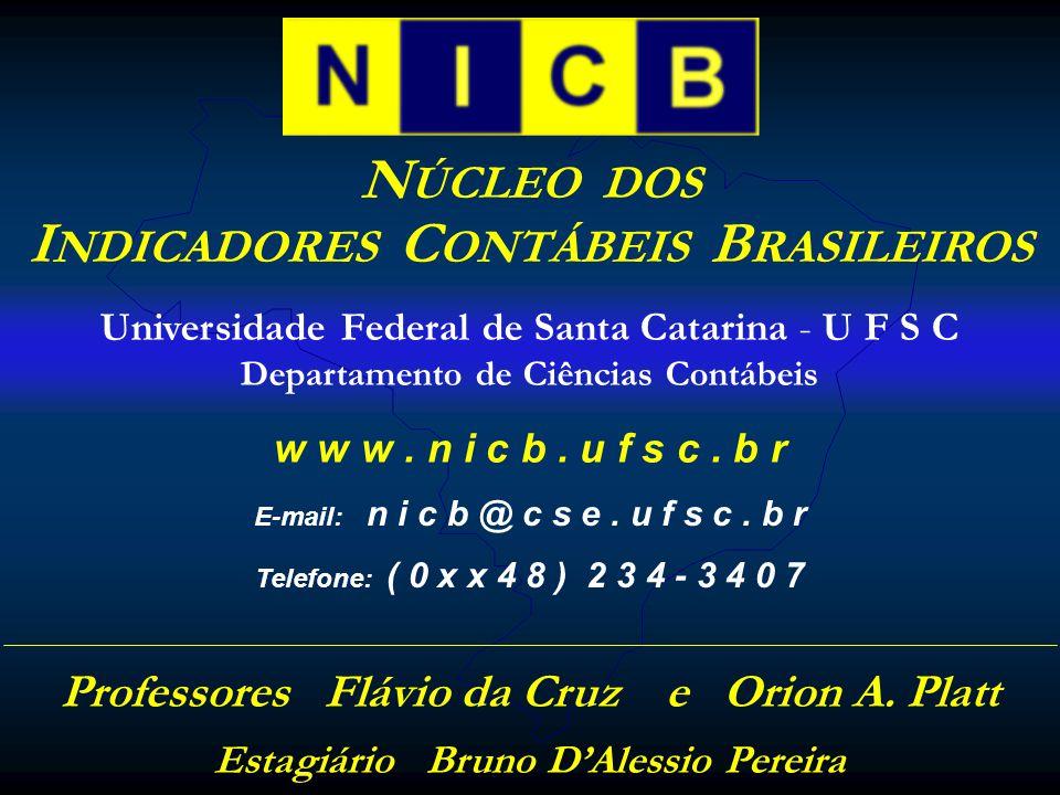 N ÚCLEO DOS I NDICADORES C ONTÁBEIS B RASILEIROS w w w. n i c b. u f s c. b r Universidade Federal de Santa Catarina - U F S C Departamento de Ciência