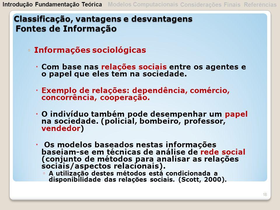 Informações sociológicas Com base nas relações sociais entre os agentes e o papel que eles tem na sociedade. Exemplo de relações: dependência, comérci