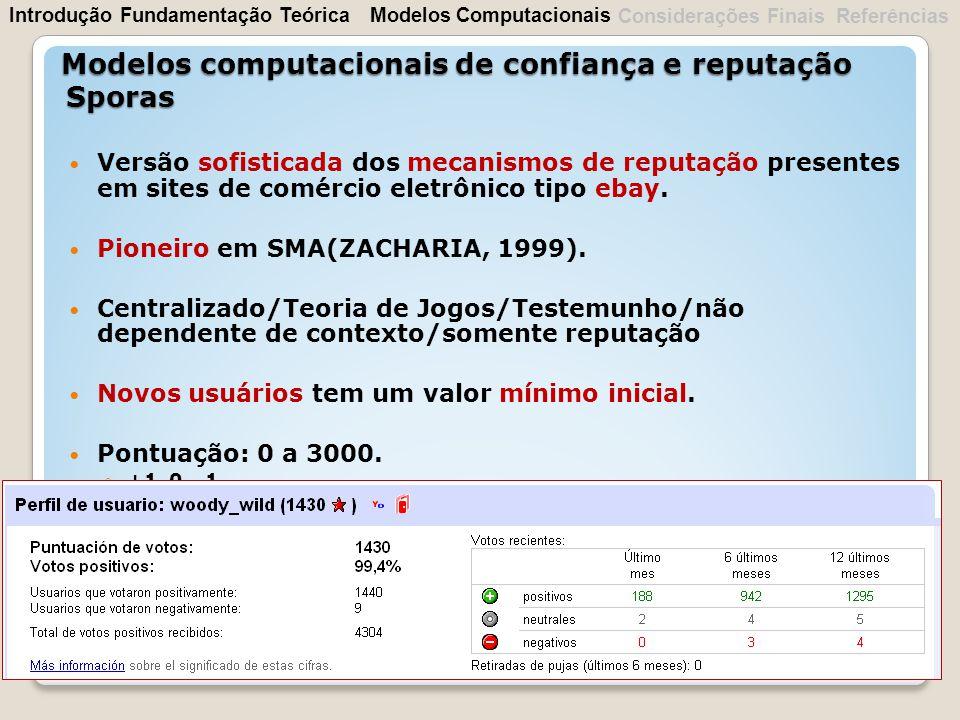 Versão sofisticada dos mecanismos de reputação presentes em sites de comércio eletrônico tipo ebay. Pioneiro em SMA(ZACHARIA, 1999). Centralizado/Teor