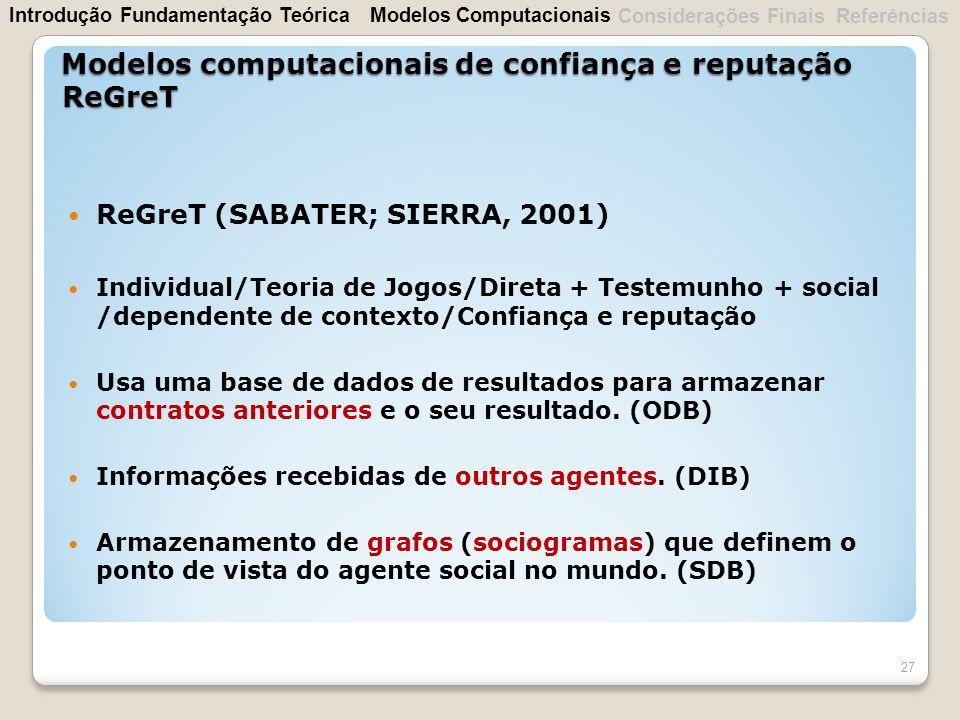 ReGreT (SABATER; SIERRA, 2001) Individual/Teoria de Jogos/Direta + Testemunho + social /dependente de contexto/Confiança e reputação Usa uma base de d