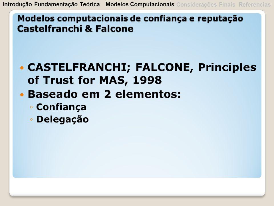 CASTELFRANCHI; FALCONE, Principles of Trust for MAS, 1998 Baseado em 2 elementos: Confiança Delegação Modelos computacionais de confiança e reputação