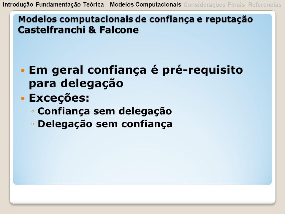 Em geral confiança é pré-requisito para delegação Exceções: Confiança sem delegação Delegação sem confiança Modelos computacionais de confiança e repu
