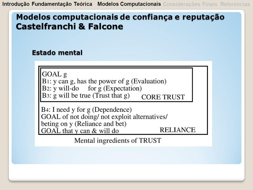 Estado mental Modelos computacionais de confiança e reputação Castelfranchi & Falcone IntroduçãoFundamentação Teórica Considerações Finais Referências