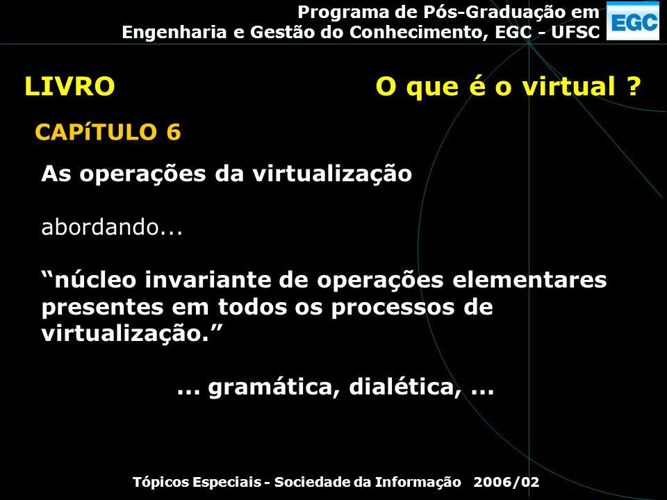 Programa de Pós-Graduação em Engenharia e Gestão do Conhecimento, EGC - UFSC Tópicos Especiais - Sociedade da Informação 2006/02 As operações da virtu