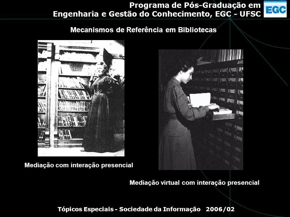 Programa de Pós-Graduação em Engenharia e Gestão do Conhecimento, EGC - UFSC Tópicos Especiais - Sociedade da Informação 2006/02 Mediação com interaçã