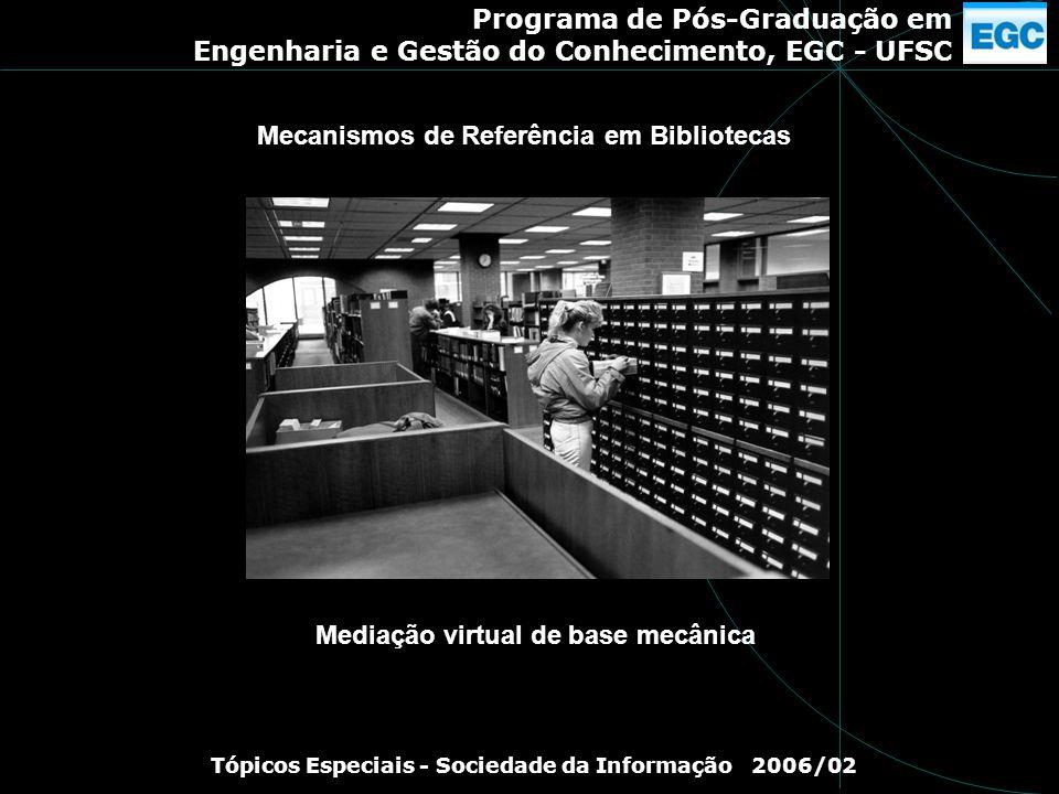 Programa de Pós-Graduação em Engenharia e Gestão do Conhecimento, EGC - UFSC Tópicos Especiais - Sociedade da Informação 2006/02 Mediação virtual de b
