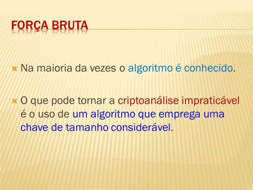Na maioria da vezes o algoritmo é conhecido. O que pode tornar a criptoanálise impraticável é o uso de um algoritmo que emprega uma chave de tamanho c