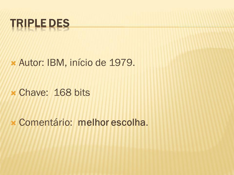 Autor: IBM, início de 1979. Chave: 168 bits Comentário: melhor escolha.