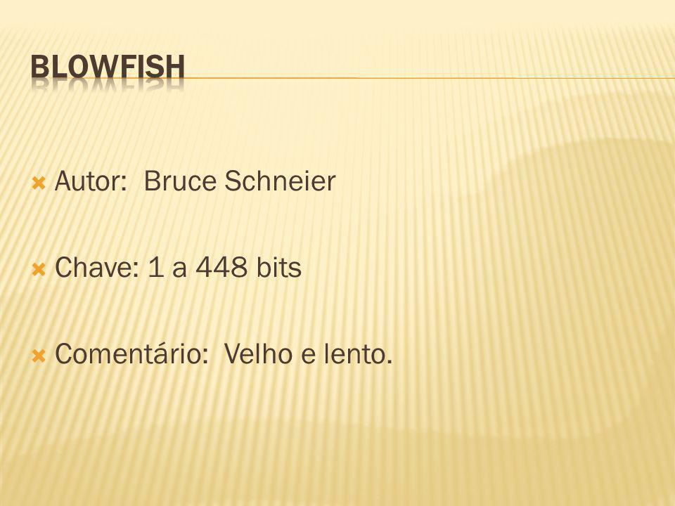 Autor: Bruce Schneier Chave: 1 a 448 bits Comentário: Velho e lento.